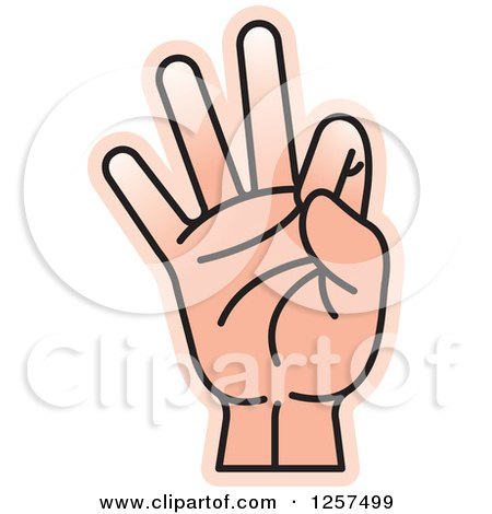 Clipart of a Counting Hand Holding up 9 Fingers, Nine in Sign Language - Royalty Free Vector Illustration by Lal Perera
