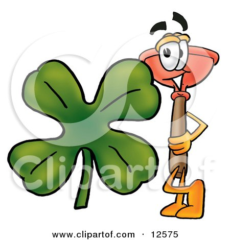 Clipart Picture of a Sink Plunger Mascot Cartoon Character With a Green Four Leaf Clover on St Paddy's or St Patricks Day by Toons4Biz