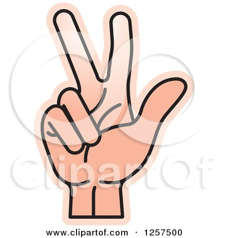 Clipart of a Counting Hand Holding up 3 Fingers, Three in Sign Language - Royalty Free Vector Illustration by Lal Perera
