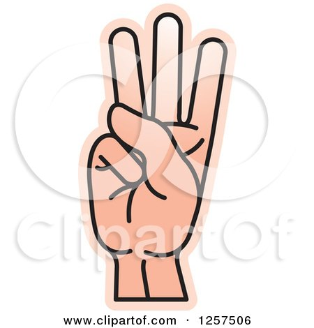Clipart of a Sign Language Hand Gesturing Letter W - Royalty Free Vector Illustration by Lal Perera