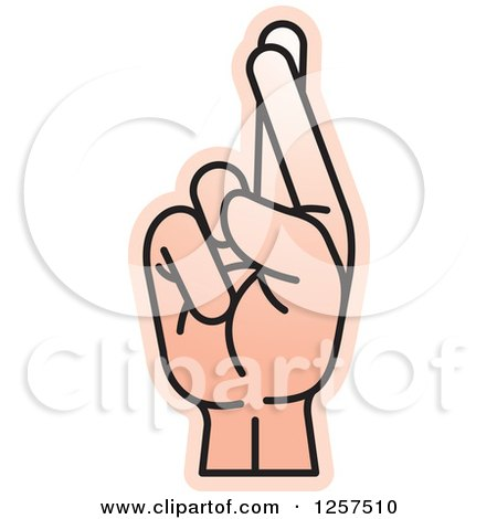 Clipart of a Sign Language Hand Gesturing Letter R - Royalty Free Vector Illustration by Lal Perera