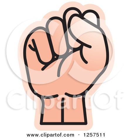 Clipart of a Sign Language Hand Gesturing Letter S - Royalty Free Vector Illustration by Lal Perera