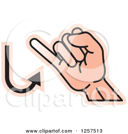 Clipart of a Sign Language Hand Gesturing Letter J - Royalty Free Vector Illustration by Lal Perera