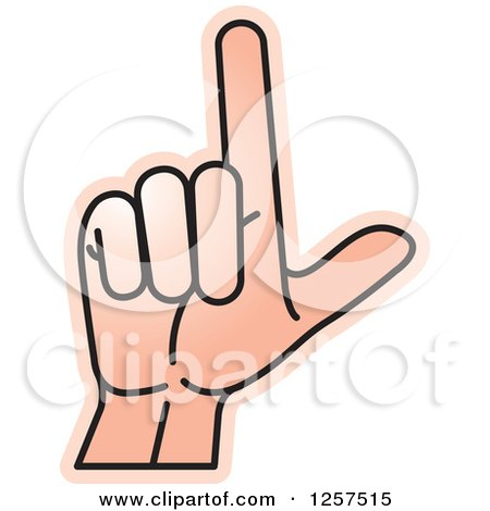 Clipart of a Sign Language Hand Gesturing Letter L - Royalty Free Vector Illustration by Lal Perera