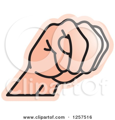 Clipart of a Sign Language Hand Gesturing Letter M - Royalty Free Vector Illustration by Lal Perera
