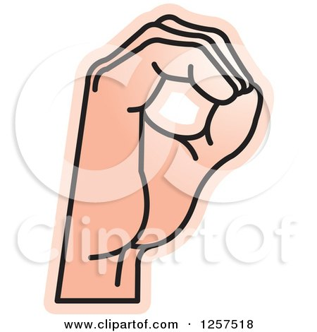 Clipart of a Sign Language Hand Gesturing Letter O - Royalty Free Vector Illustration by Lal Perera