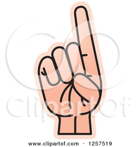 Clipart of a Sign Language Hand Gesturing Letter D - Royalty Free Vector Illustration by Lal Perera