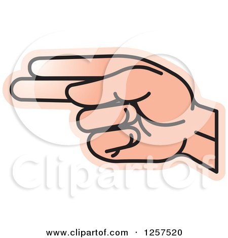 Clipart of a Sign Language Hand Gesturing Letter H - Royalty Free Vector Illustration by Lal Perera