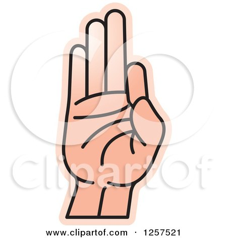 Clipart of a Sign Language Hand Gesturing Letter F - Royalty Free Vector Illustration by Lal Perera