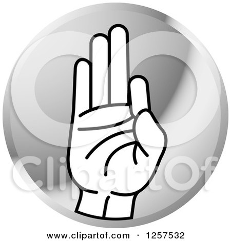 Clipart of a Silver Icon of a Sign Language Hand Gesturing Letter F - Royalty Free Vector Illustration by Lal Perera