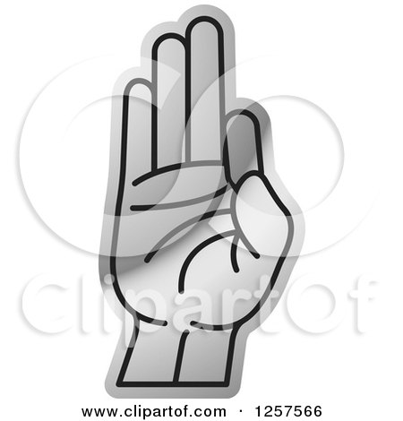 Clipart of a Silver Sign Language Hand Gesturing Letter F - Royalty Free Vector Illustration by Lal Perera