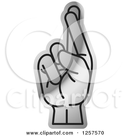 clipart of a silver sign language hand gesturing letter r royalty free vector illustration by lal perera