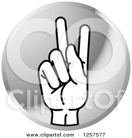 Clipart of a Silver Icon of a Sign Language Hand Gesturing Letter K - Royalty Free Vector Illustration by Lal Perera