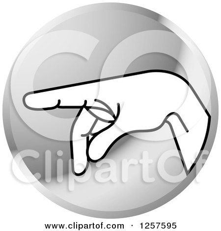 Clipart of a Silver Icon of a Sign Language Hand Gesturing Letter P - Royalty Free Vector Illustration by Lal Perera