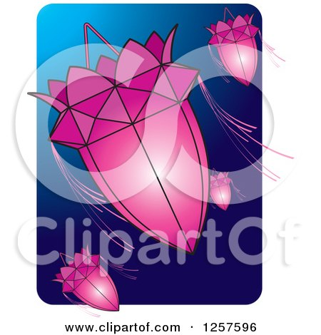 Clipart of Pink Sri Lankan Vesak Kuudu Lanterns over Blue - Royalty Free Vector Illustration by Lal Perera