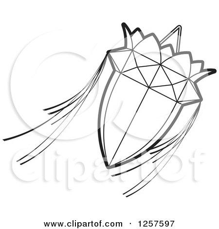 Clipart of a Black and White Sri Lankan Vesak Kuudu Lantern - Royalty Free Vector Illustration by Lal Perera