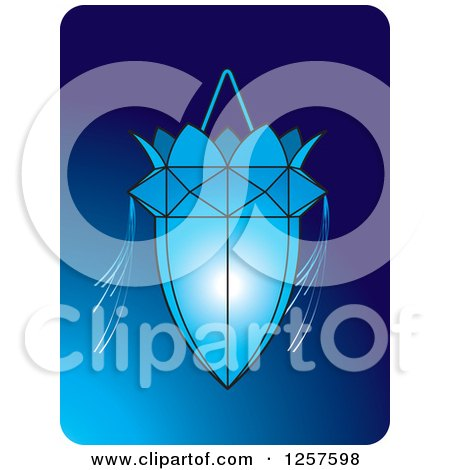 Clipart of a Sri Lankan Vesak Kuudu Lantern over Blue - Royalty Free Vector Illustration by Lal Perera