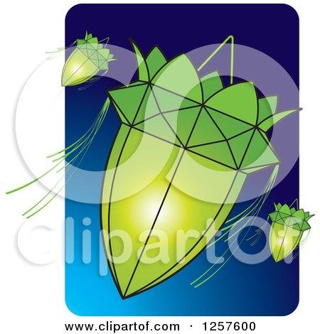 Clipart of Green Sri Lankan Vesak Kuudu Lanterns over Blue - Royalty Free Vector Illustration by Lal Perera