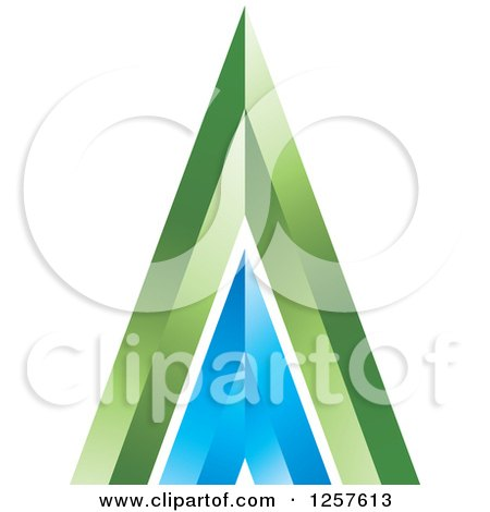 Clipart of a 3d Green and Blue Mountain or Pyramid - Royalty Free Vector Illustration by Lal Perera