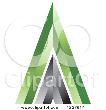 Clipart of a 3d Black and Green Pyramid or Mountain - Royalty Free Vector Illustration by Lal Perera
