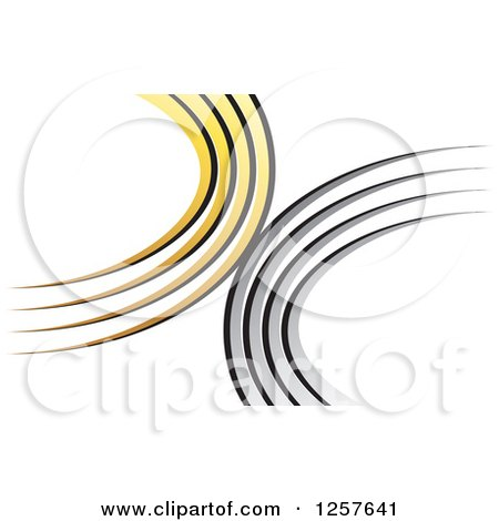 Clipart of a Yellow and Silver Swoosh Logo - Royalty Free Vector Illustration by Lal Perera