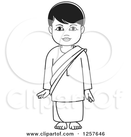 Clipart of a Black and White Standing Sinhala Boy at Temple - Royalty Free Vector Illustration by Lal Perera