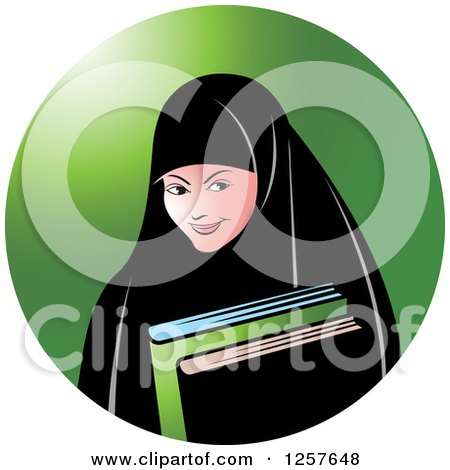 Clipart of a Happy Muslim Girl Carrying Books, over a Green Circle - Royalty Free Vector Illustration by Lal Perera