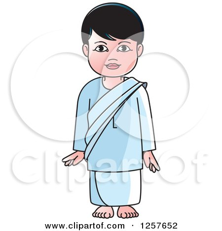 Clipart of a Standing Sinhala Boy at Temple - Royalty Free Vector Illustration by Lal Perera