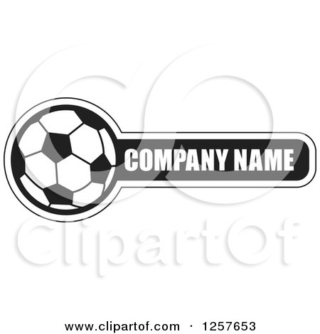 Clipart of a Black and White Soccer Ball with Company Name Sample Text - Royalty Free Vector Illustration by Lal Perera