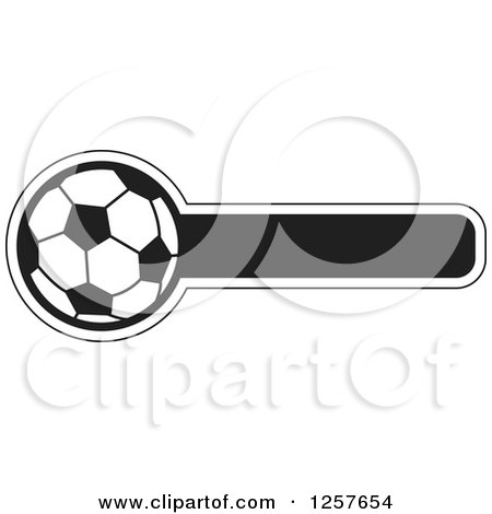 Clipart of a Black and White Soccer Ball with a Bar for Text - Royalty Free Vector Illustration by Lal Perera