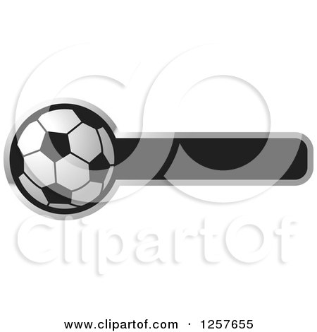 Clipart of a Soccer Ball with a Bar for Text - Royalty Free Vector Illustration by Lal Perera