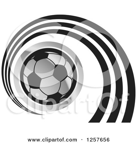 Clipart of a Silver Soccer Ball with a Spiral - Royalty Free Vector Illustration by Lal Perera