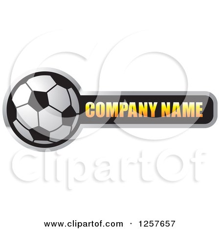 Clipart of a Soccer Ball with Company Name Sample Text - Royalty Free Vector Illustration by Lal Perera