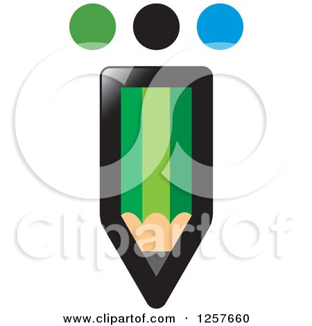 Clipart of a Green Pencil with Dots - Royalty Free Vector Illustration by Lal Perera