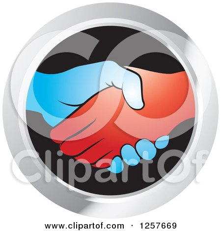 Blue and Red Hands Shaking in a Silver and Black Circle Icon Posters, Art Prints