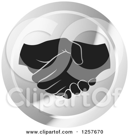 Black and White Hands Shaking in a Silver Circle Icon Posters, Art Prints