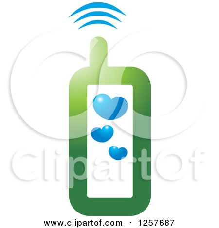 Clipart of a Green Cell Phone with Hearts - Royalty Free Vector Illustration by Lal Perera