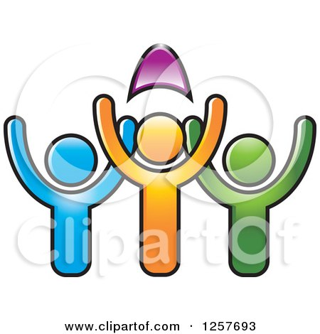 Clipart of Colorful Diverse Team of People Cheering - Royalty Free Vector Illustration by Lal Perera