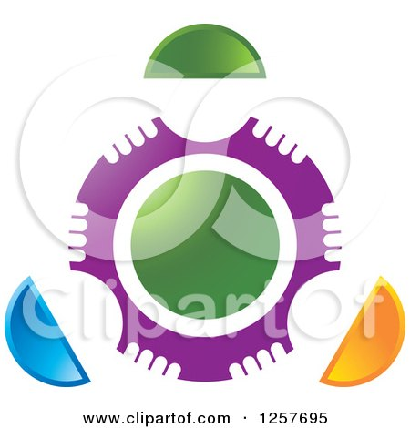 Clipart of a Circle of Abstract People Around Green - Royalty Free Vector Illustration by Lal Perera