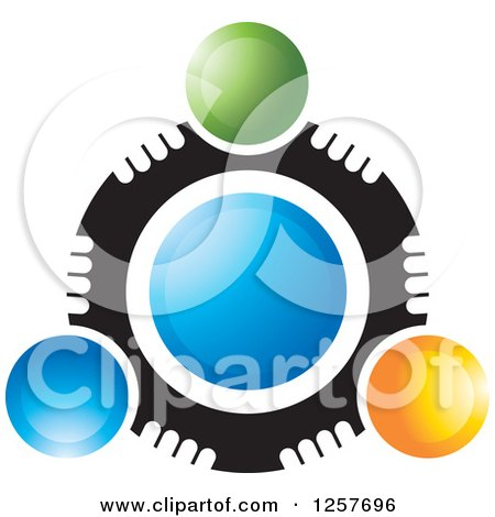 Clipart of a Circle of Abstract People Around Blue - Royalty Free Vector Illustration by Lal Perera