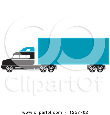 Clipart of a Black and Blue Big Rig Truck - Royalty Free Vector Illustration by Lal Perera