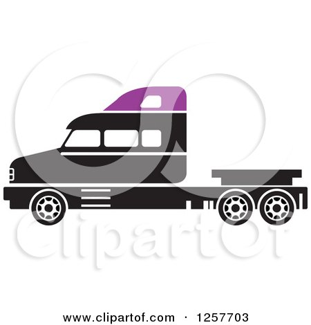 Clipart of a Black and Purple Big Rig Truck - Royalty Free Vector Illustration by Lal Perera