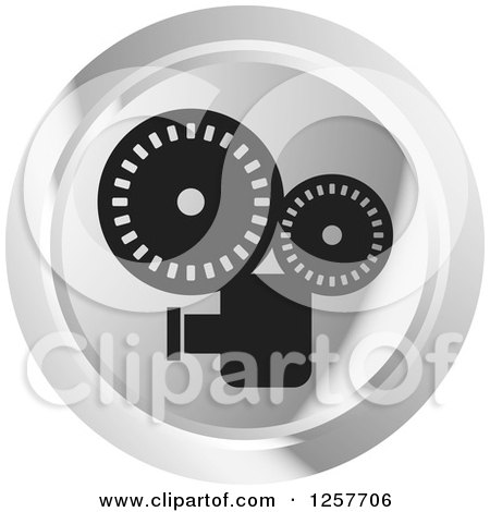 Clipart of a Round Silver Movie Camera Icon - Royalty Free Vector Illustration by Lal Perera