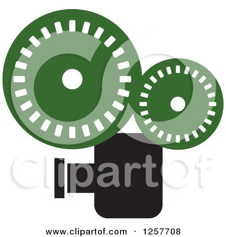Clipart of a Black and Green Film Camera - Royalty Free Vector Illustration by Lal Perera