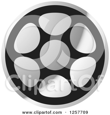 Clipart of a Grayscale Film Reel - Royalty Free Vector Illustration by Lal Perera