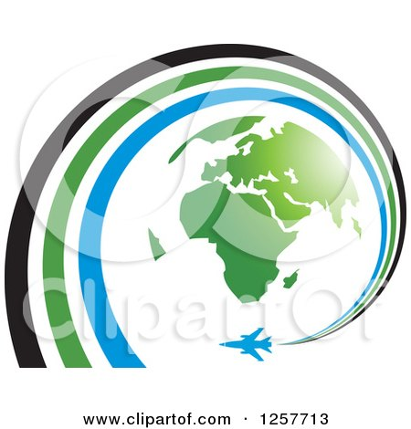 Clipart of a Green Earth and Airplane with a Spiraling Trail - Royalty Free Vector Illustration by Lal Perera