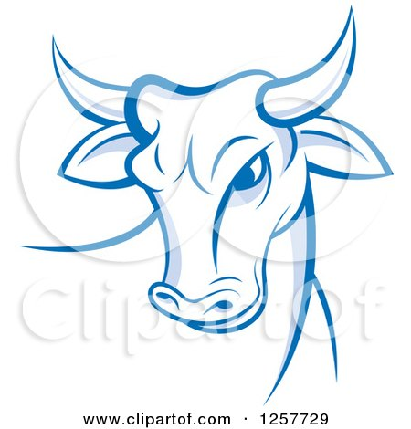 Clipart of a Blue and White Bull - Royalty Free Vector Illustration by Lal Perera