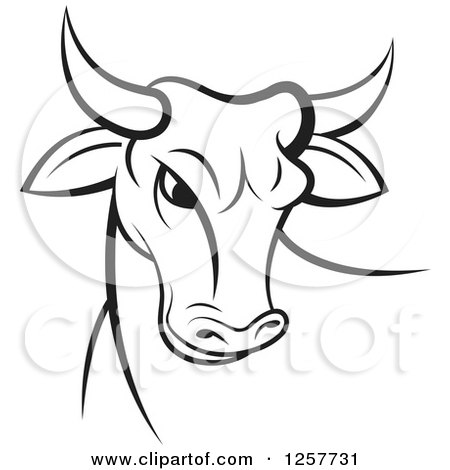 Clipart of a Black and White Bull - Royalty Free Vector Illustration by Lal Perera
