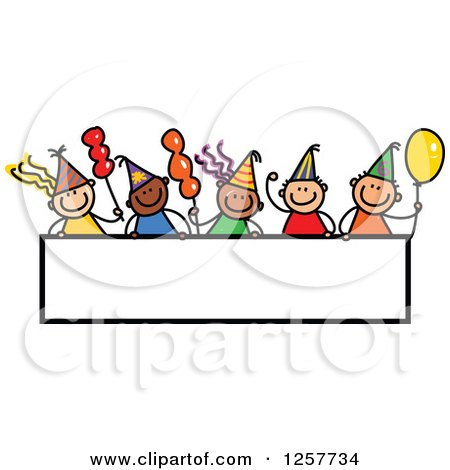 Clipart of a Diverse Group of Stick Children over a Blank Party Banner Sign - Royalty Free Vector Illustration by Prawny