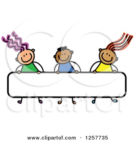 Clipart of a Diverse Group of Stick Children Carrying a Blank Banner Sign - Royalty Free Vector Illustration by Prawny
